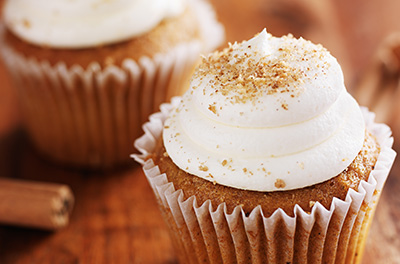 Chai Mini Cupcakes with fresh Cinnamon Whipped Cream